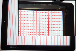 Pattern of sense lines on the iPad digitizer.  Note that the digitizer is shown here on its side.
