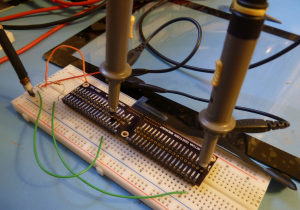 Initial breadboard setup of the digitizer test board.