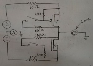 Crappy whiteboard drawing of my core test circuit.